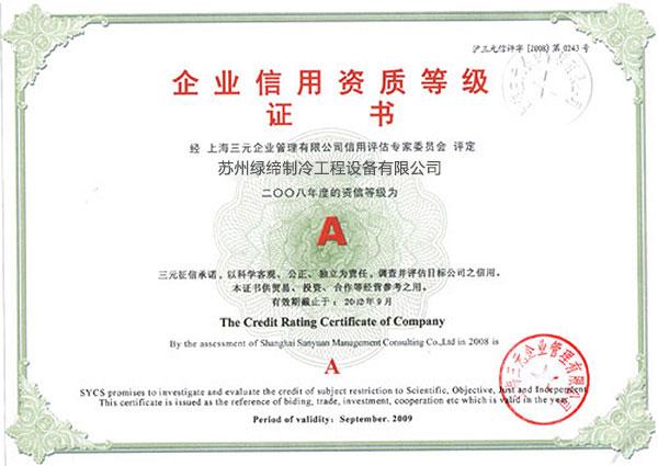 08年企业信用资质证书