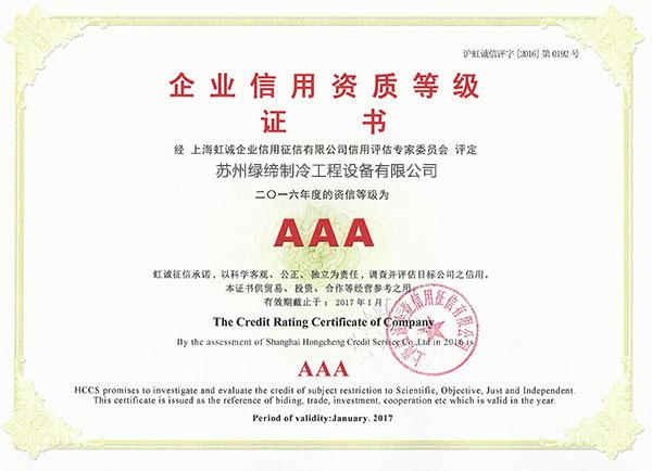 16年企业信用资质证书